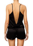satin silk black playsuit open back onesie Domenico Gardini resort wear