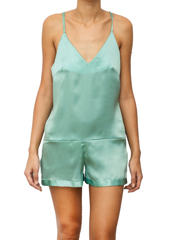 GIOCONDA SILK PLAYSUIT MENTA GREEN
