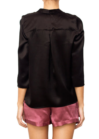 INCORONATA SILK BLOUSE NERO BLACK
