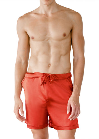 LEONARDO SILK SHORTS SIENNA RED