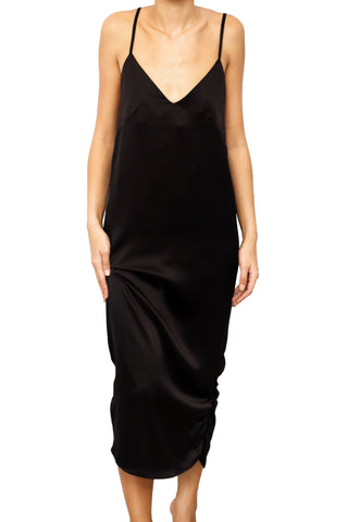 NUNZIATA SILK LONG DRESS NERO BLACK