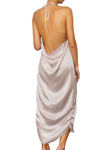 NUNZIATA SILK LONG DRESS PROVENZA LILAC
