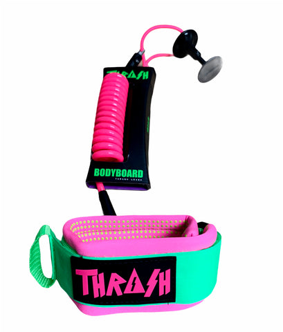 Thrash Bodyboarding Pro Bicep Leash Dot-Grip Pink/Green