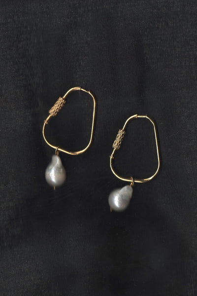 'The Large Spring Hook' Earrings with Baroque Pearls #037