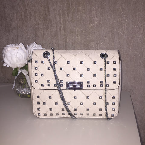 Rock stud chain handle cross body bag [DREW]
