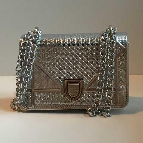 'PIORAMA' mini quilted silver chain bag