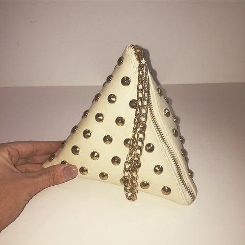 'KRISTA' Studded pyramid clutch bag