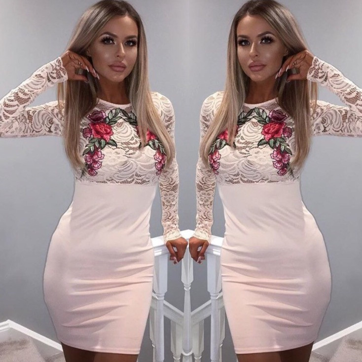 Pink flower applique bodycon midi dress