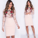 Pink lace and applique flower mesh bodycon dres