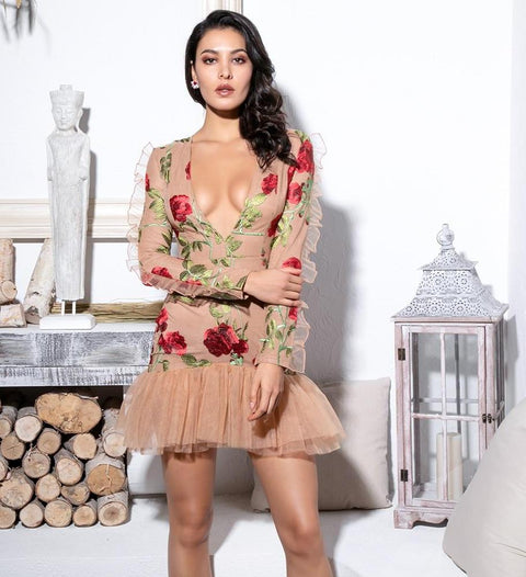 Floral Embroidered MeSh Ruffle Dress 'Mina'