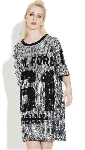 df0b360d3 ... Sequin T-Shirt Dress Molly Tom Ford Slogan [Tom] ...