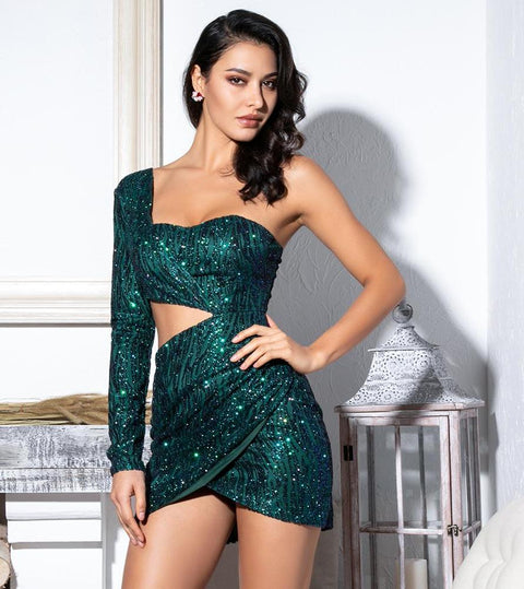 Green embellished one shoulder cut out dress 'Evie'