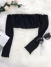 black frill off shuolder crop top
