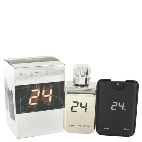 24 Platinum The Fragrance by ScentStory Eau De Toilette Spray + 0.8 oz Mini Pocket Spray 3.4 oz for Men - COLOGNE