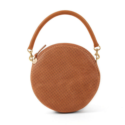 Circle Clutch in Cuoio Perf