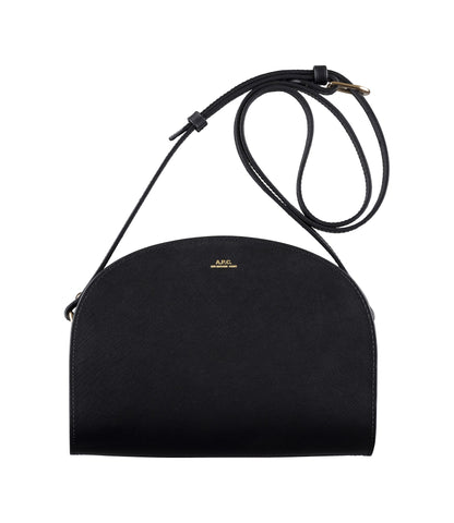 Half-moon bag in Black Saffiano