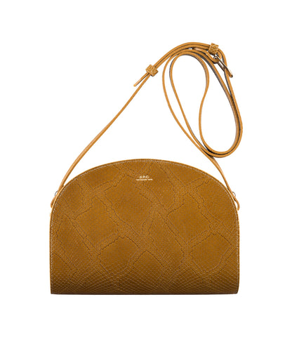 Half-moon bag in Camel (embossed leather)