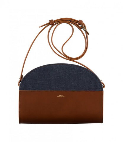 Half-moon bag in Chestnut Brown/ Denim