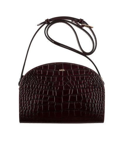 Half-moon bag in Wine (croc-embossed leather)