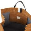 Simple Tote Camel Suede w/ Black & White stripes