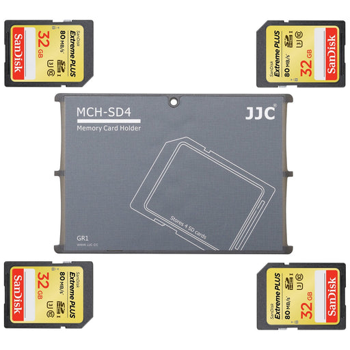 JJC 'MCH-SD4GR' Memory Card Holder - 4 SD-SD Card Holder-JJC-PanzerCases