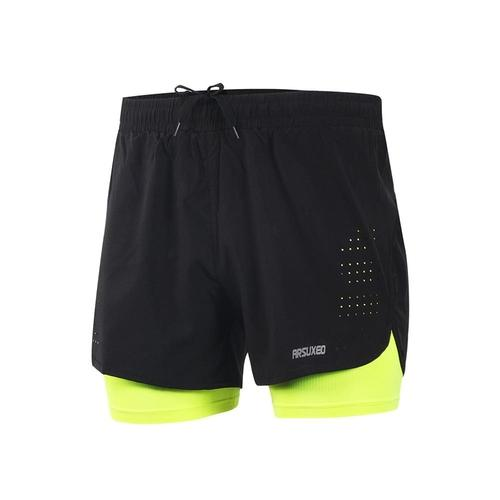 Arsuxeo Men's 2-in-1 Running Shorts with Long Liner-Running Shorts-Arsuxeo-PanzerCases