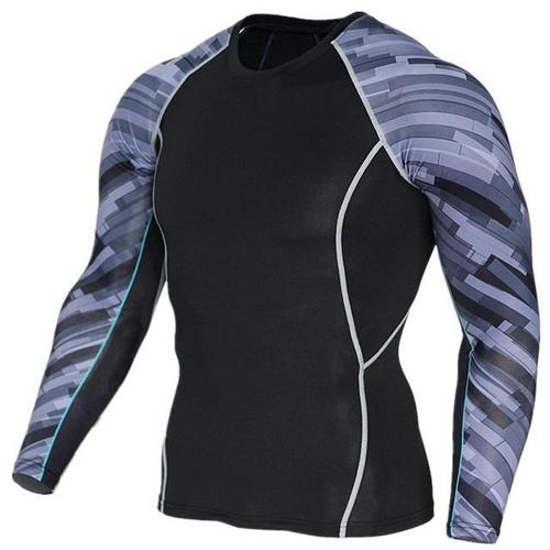 PHYSIQ Long Sleeve Compression Base Layer-Compression Shirt-Physiq-Grey Stripes-S-PanzerCases
