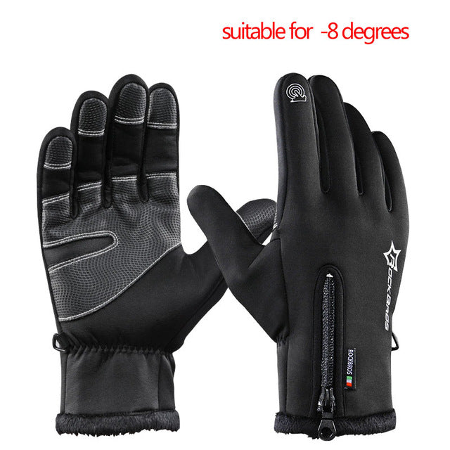 ROCKBROS Model S006 Windproof Winter Cycling Gloves-Bike Gloves-RockBros-B black-L-PanzerCases