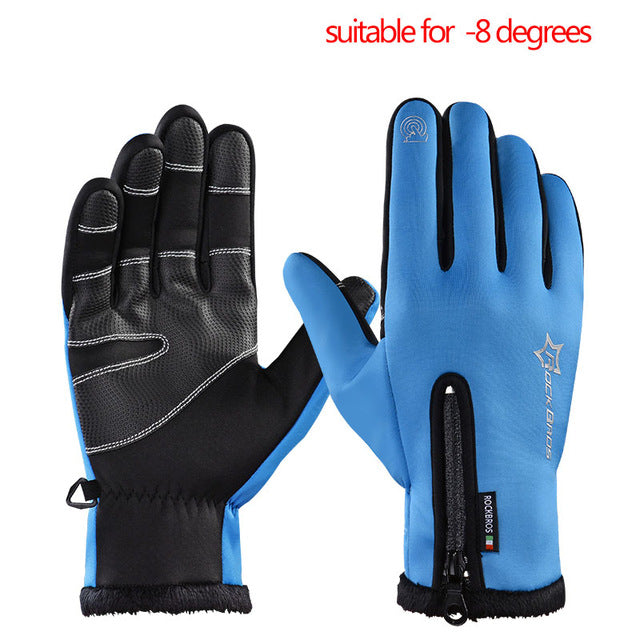 ROCKBROS Model S006 Windproof Winter Cycling Gloves-Bike Gloves-RockBros-B blue-L-PanzerCases