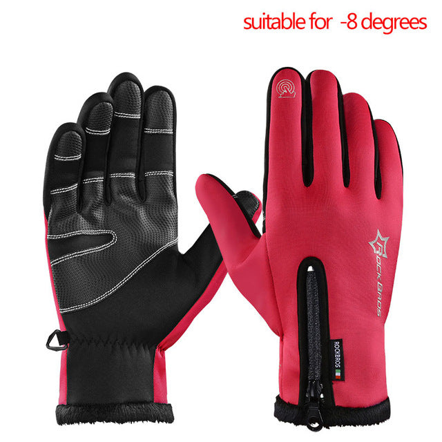 ROCKBROS Model S006 Windproof Winter Cycling Gloves-Bike Gloves-RockBros-B red-L-PanzerCases