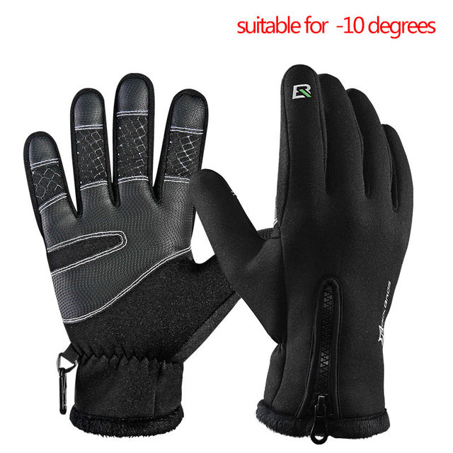 ROCKBROS Model S006 Windproof Winter Cycling Gloves-Bike Gloves-RockBros-A black-L-PanzerCases