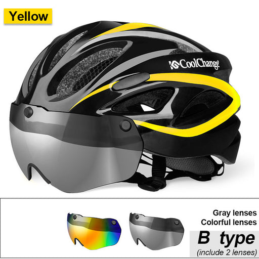CoolChange 19020 Lightweight Cycle Helmet with Integral Lens-Cycle Helmet-CoolChange-B Yellow2 lenses-PanzerCases