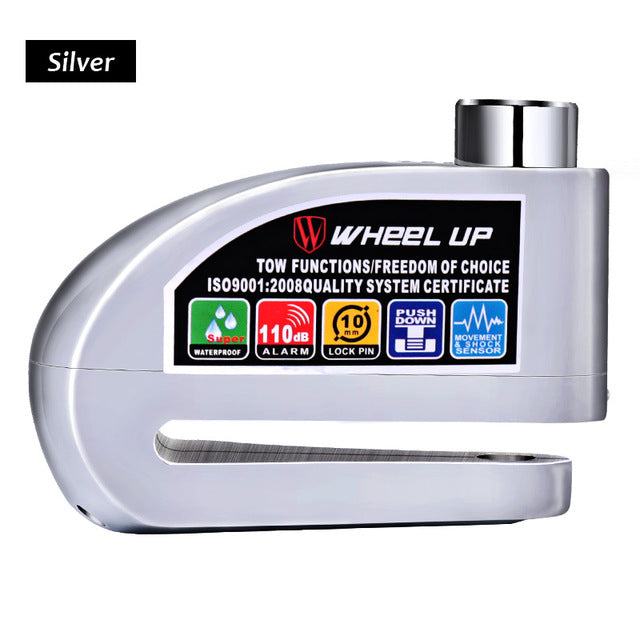 Wheel Up Alarmed Anti-Theft Disc Lock-Bike Locks-Wheel Up-Silver-PanzerCases