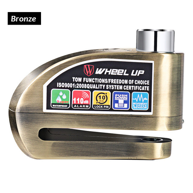 Wheel Up Alarmed Anti-Theft Disc Lock-Bike Locks-Wheel Up-Bronze-PanzerCases