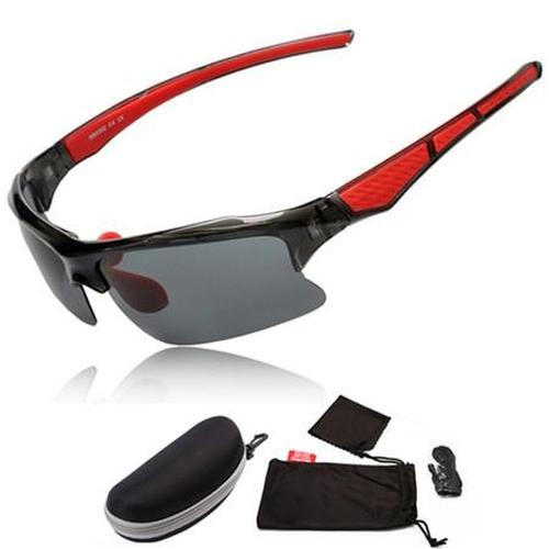 West Biking '3068' Polarised Sports Glasses-Sunglasses-West Biking-Black & Red-PanzerCases