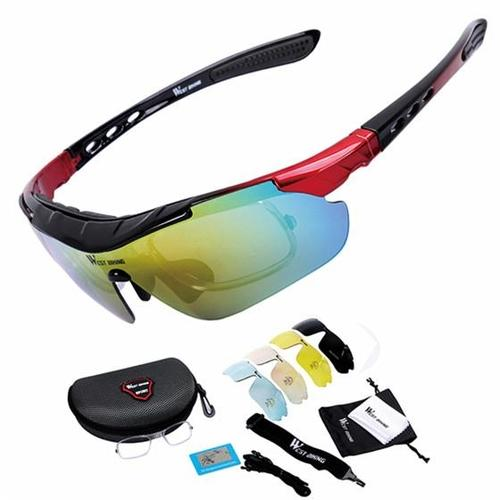 West Biking '3111N' Polarised Lightweight Cycling Glasses-Sunglasses-West Biking-Black & Red-PanzerCases