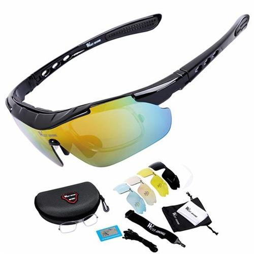 West Biking '3111N' Polarised Lightweight Cycling Glasses-Sunglasses-West Biking-Black-PanzerCases
