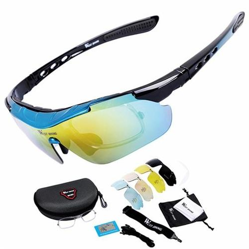 West Biking '3111N' Polarised Lightweight Cycling Glasses-Sunglasses-West Biking-Black & Blue-PanzerCases
