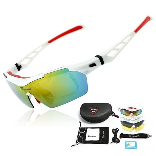 West Biking '3116A' Polarised Lightweight Sports Glasses-Sunglasses-West Biking-White & Red-PanzerCases