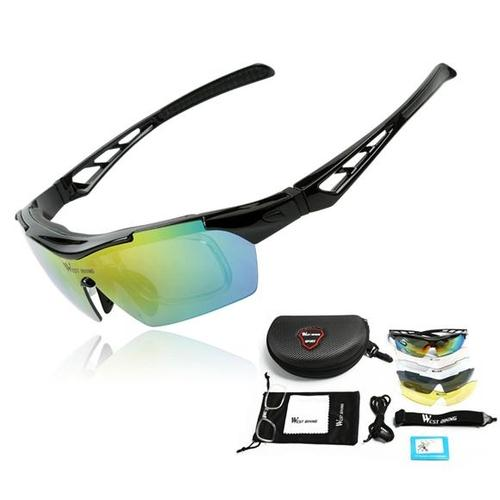West Biking '3116A' Polarised Lightweight Sports Glasses-Sunglasses-West Biking-Black-PanzerCases