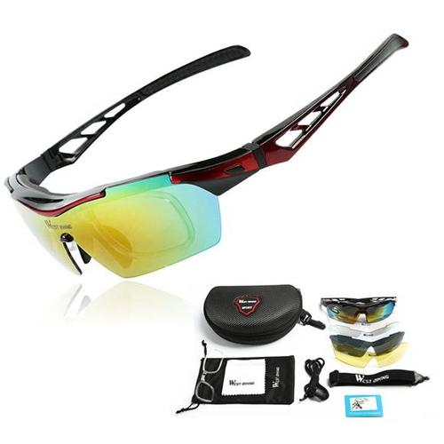 West Biking '3116A' Polarised Lightweight Sports Glasses-Sunglasses-West Biking-Black & Red-PanzerCases