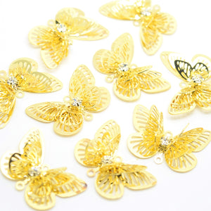 STAR BEADS: 10 x Filigree Butterfly Rhinestone Connectors 23mm - Gold Plated - Jewellery Findings