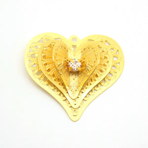 STAR BEADS: 2 x Filigree GP Pendants With Rhinestones - Heart 3D 26x24mm - Jewellery Findings