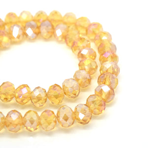 STAR BEADS: FACETED RONDELLE GLASS BEADS - CHAMPAGNE AB - Rondelle Beads
