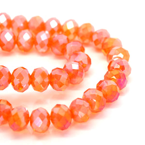 STAR BEADS: 70 x Faceted Rondelle Glass Beads 10mm - Tangerine AB - Rondelle Beads