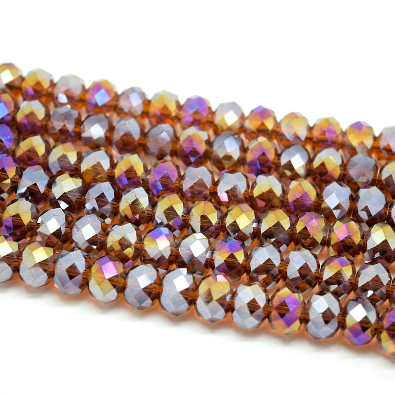 Faceted Rondelle Glass Beads - Amber AB