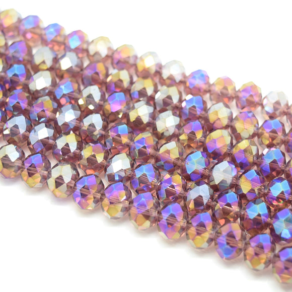 Faceted Rondelle Glass Beads - Amethyst AB