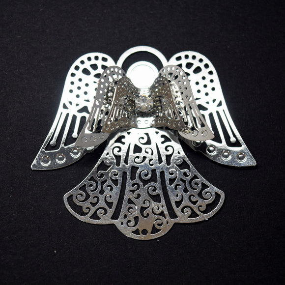 STAR BEADS: 2 x Filigree SP Connectors With Rhinestones - Angel 43x49mm - Jewellery Findings