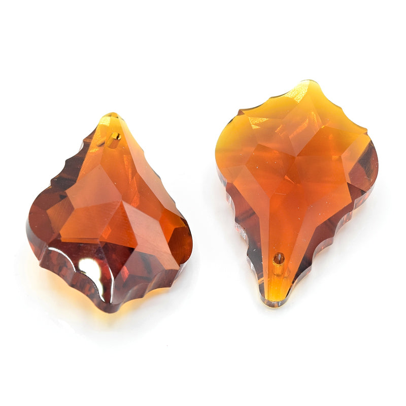 4 x Faceted Glass Baroque Pendants 38mm - Amber