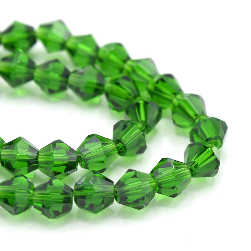 Faceted Bicone Glass Beads - Green
